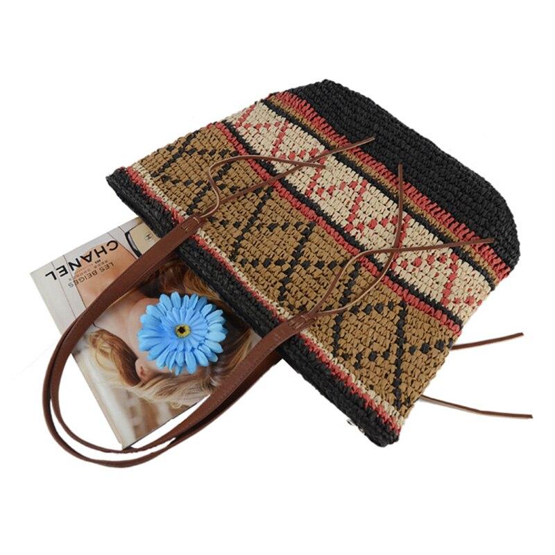 Women Straw Bag Bohemian Female Summer Large Beach Vintage Woven Handbag Lady Shopping Shoulder Bags Travel Casual Tote SS3056 (7)