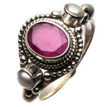 StarGems(tm) Natural Cherry Ruby and River Pearl 925 Sterling Silver Ring, US Size 8.75(China)