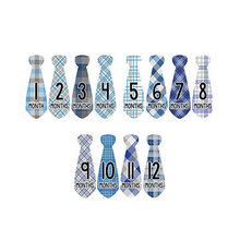 24 Pcs Baby Monthly Necktie Onesie Stickers - Monthly Milestone Belly Necktie Stickers -12 Months +12 Bonus(China)