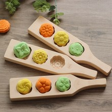 Homemade Moon Cake Mold Wooden 3 Flowers Cookies Cake Mould DIY Mooncake Pastry Baking Decorating Tools Kitchen Accessories