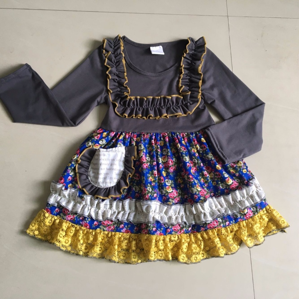spring and autumn Dress 100 % cotton with ruffle Infants and Children Fashion clothing For Birthday Present<br>