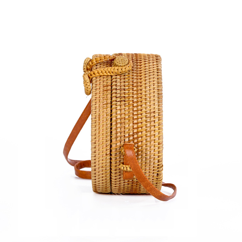 Women Straw Bags Female Round Beach Bag Knitted Lady Bohemian Vintage Rattan Shoulder Bag Handmade INS Popular Weave Bag SS3125 (4)