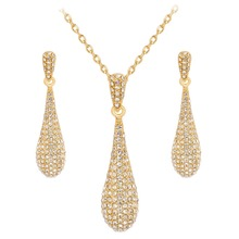 Unique Wedding Necklace Set Gold Color Rhinestone Water Drop Necklace Earrings Jewelry Set For Women