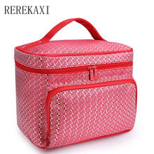 Diamond Lattice Big Cosmetic Bag Women Waterproof Professional Toiletry Kit Wash Necessaire Travel Organizer Make up Bags