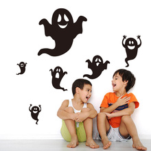 New Happy Halloween Black Ghost Wall Sticker Window Home Decoration Decal Decor large wall posters door glass stickers