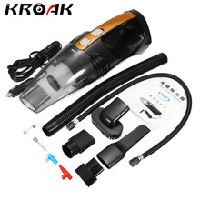 KROAK 4 In 1 12V Portable Car Wet & Dry Cigar Lighter HEPA Vacuum Cleaner With Light Inflatable Tire Pressure Detection(China)
