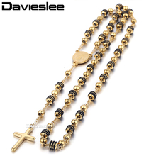 Davieslee Mens Womens Chain Bead Rosary Cross Pendant Necklace Stainless Steel Gold Black SilverTone Jesus Christ 6/8mm LKN434(China)