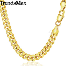 Trendsmax Mens Chain Curb Cuban Gold Filled Necklace Hip Hop Jewelry 3/4/6mm 18-36inch GN143(Hong Kong)