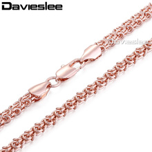 Davieslee Mens Womens Necklace White Yellow Rose Gold Filled Chain Swirl Link Wholesale Jewelry  5/6mm LGN223