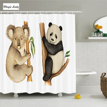 Shower Curtain Animal Print Bathroom Accessories Koala Panda Trees Wild Woodland Tropics Beige Black 180*200 cm
