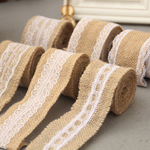 Buy 2M /Roll 5cm Width Jute Burlap Natural Hessian Ribbon Lace Trim Edge Wedding Rustic Vintage Decoration Craft for $1.31 in AliExpress store