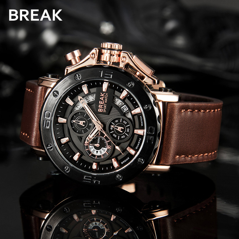 Mens Wristwatch Chronograph Casual Watch Men Luxury Brand Quartz Military Sport Watch Genuine Leather Strap Relogio Masculino<br>
