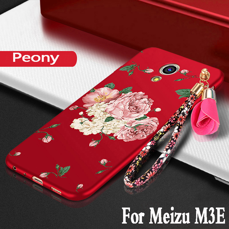 meizu m3e case silicone luxury peony fundas protection mobile shell meizu m3e cover meilan m1e phone cases 3D armor