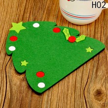 Lot New Year Christmas Tree Decorations Snow Shape Snowflake Heat Cup Coasters Dinner Table Mat For Home Decorations Craft(China)