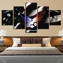 Wall Art Canvas HD Prints Poster Bedroom Living Room Home Decor 5 Pieces American Flag Paintings Modular Pictures Framework(China)