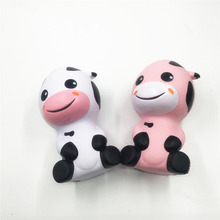New Cartoon Milk Cow Squishy Slow Rising Retail Packaging Jumbo 14CM Phone Straps Charms Scented Pendant Bread Kid Toy Gift Doll