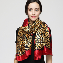 Spring summer 180cm*90cm Women Euro Design Classical Brand Luxury Sexy Leopard Printed Long Silk Scarf Big beach Shawl(China)