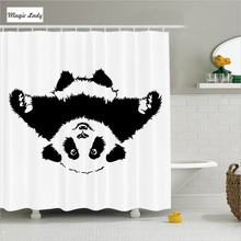Shower Curtains Kids Bathroom Accessories Funny Panda Adorable Cartoon Illustration Decor Black White 180*200 cm