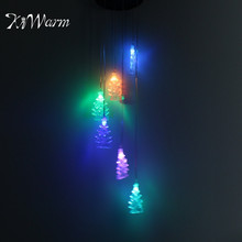 KiWarm New Arrival Solar Power Christmas Tree LED Wind Chime Light Lamp Color Changing Home Garden Christmas Party Hanging Decor