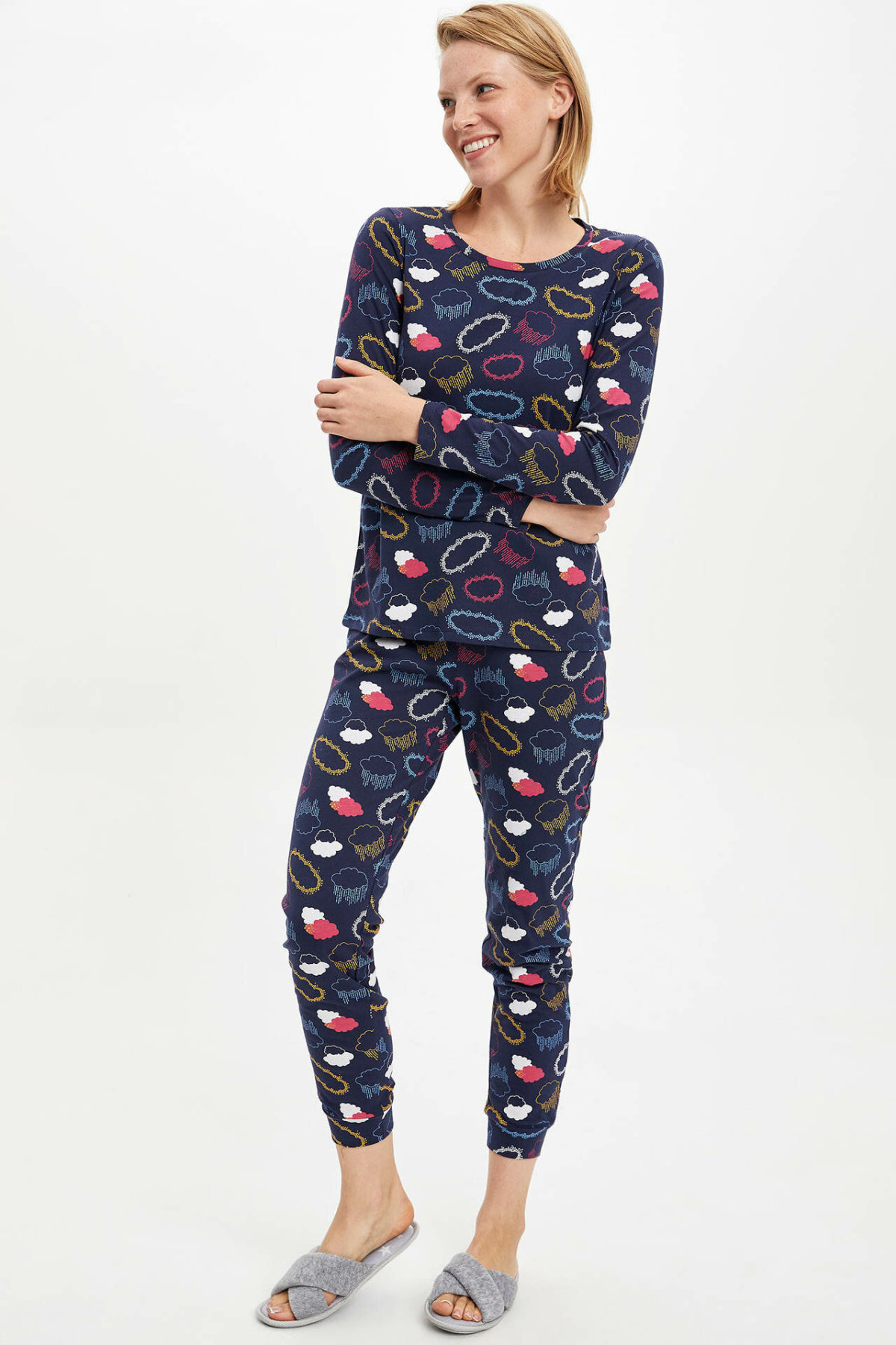 Defacto Pajamas Homewear-Sets Knitted Cloud-Prints Comfort Woman Winter Casual Sets-M1908az19wn title=