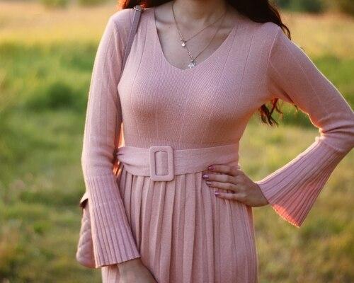 Чудесное трикотажное платье EZSSKJ - aliexpress