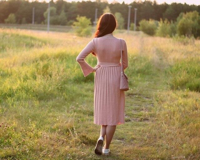 Чудесное трикотажное платье EZSSKJ - фото