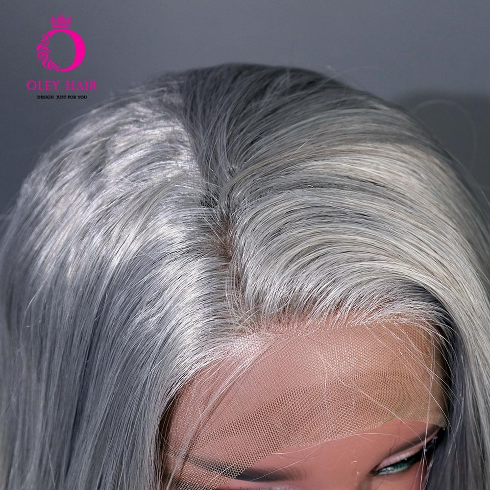OLEY Heat Resistant Grey Synthetic Lace Front Wig Free Part Long Wavy Cosplay Wig Glueless Wigs For Black Women