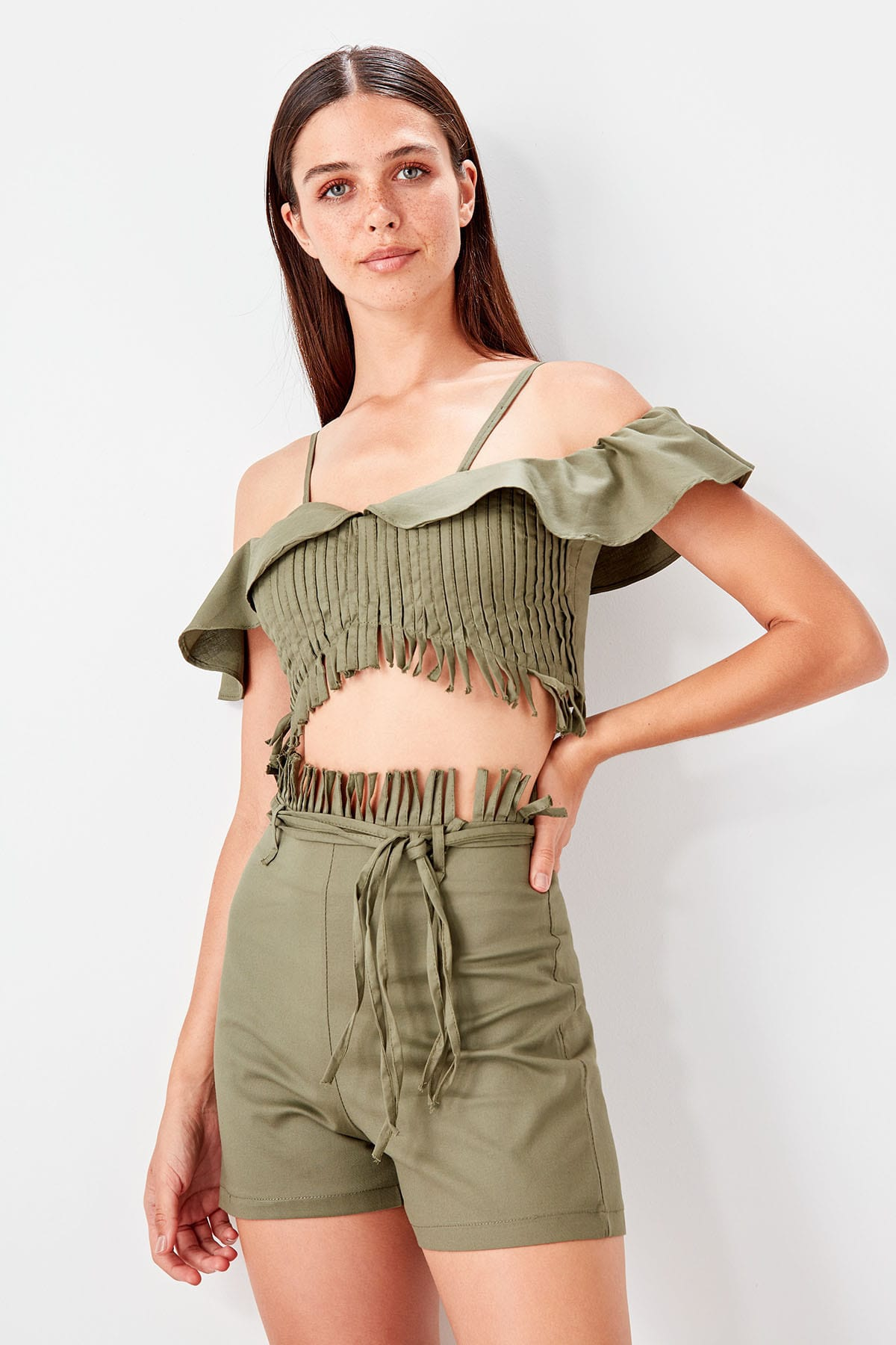 Trendyol Tassels Crop Tops Shorts Bottom/Top Suits TBESS19AU0008 title=