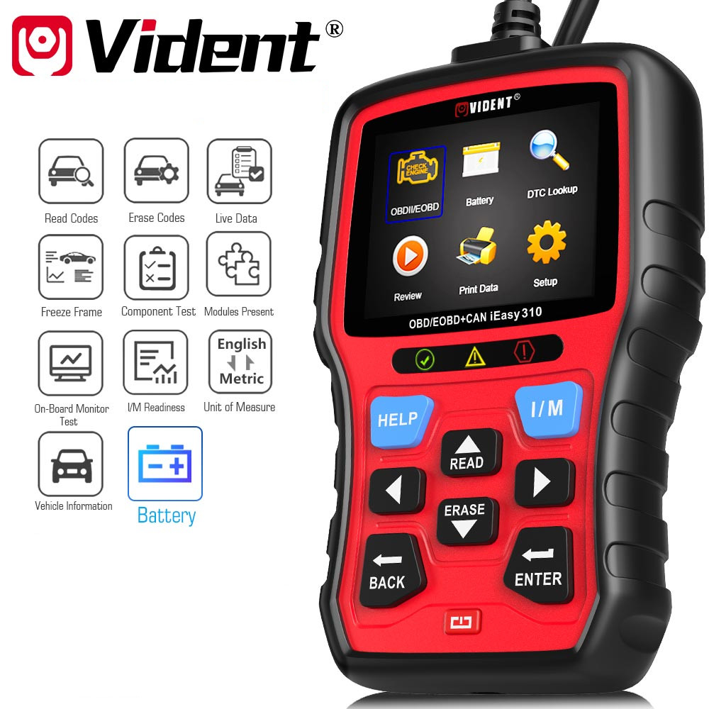 Original Vident iEasy310 Enhanced OBDII Code Reader with Battery Test Function title=