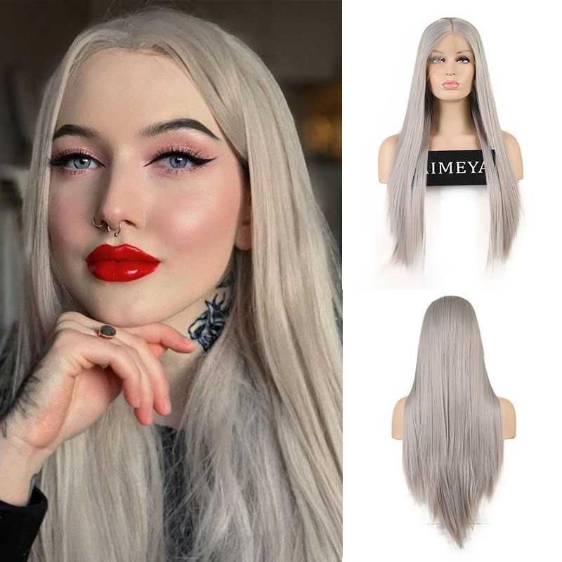 AIMEYA Ash Grey Lace Front Wigs for Women Middle Part Heat Resistant Synthetic Wigs with Natural Hairline Half Hand Tied Wig