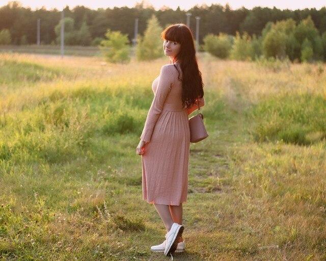 Чудесное трикотажное платье EZSSKJ - цена