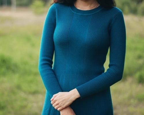 Трикотажное платье EZSSKJ - фото