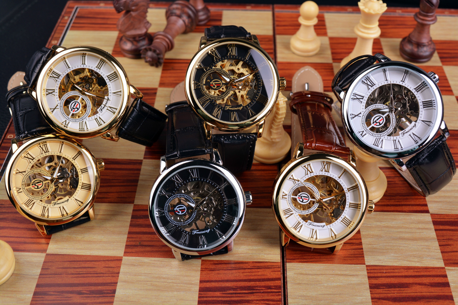 Forsining 3d Logo Design Hollow Engraving Black Gold Case Leather Skeleton Mechanical Watches Men Luxury Brand Heren Horloge 13
