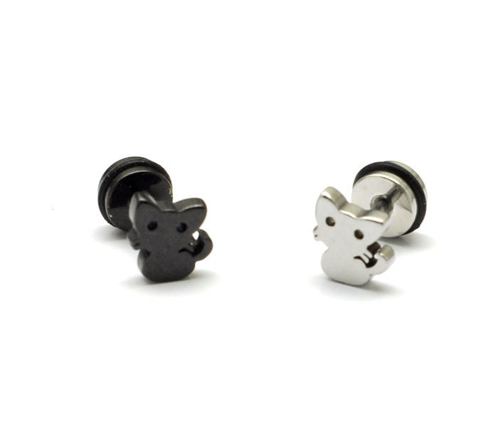 Black And Steel Color Kitten Anium Stud Earring Cartoon Style Stainless Cat Earrings Ds2251 In From Jewelry Accessories On