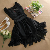 бесплатные коралловый женский лето платье без рукавов вывести из Splash цвет большой размер шифоновая юбка спагетти ремень платье cel
