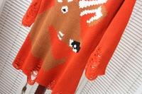 женщины в очереди Аллен вышитая свитер половина рукав изделия лепесток свободного покроя пуловер 132