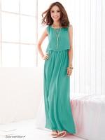 бесплатная доставка новый женская лето империи талии платье европейской торговли чешские пляж большой размер длиннее шифоновое платье