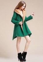 бесплатная доставка мода шерстяные женский осень и зима сплошной цвет персонализированные нерегулярные шерстяное пальто верхняя одежда