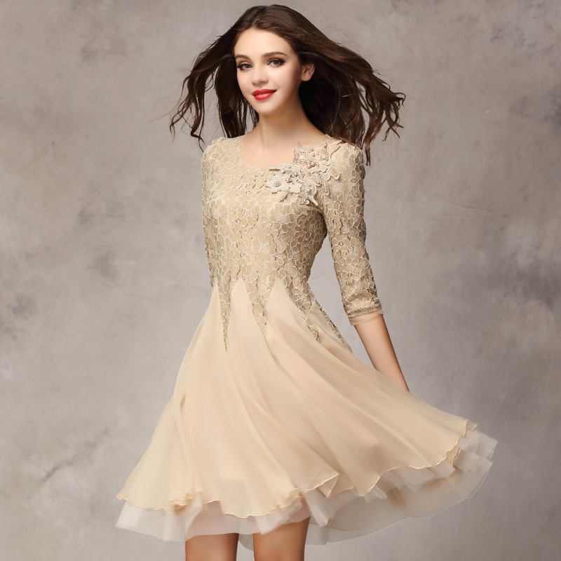 274fbefa6 2017 spring summer women's fashion organza dress knee length lace bottom  expansion one-piece dress wedding party dress