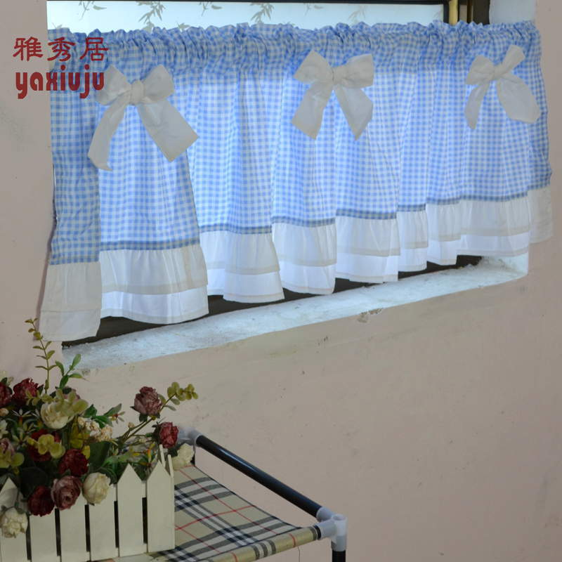 Free Shipping Blue Plaid Bow Beautiful Coffee Short Curtain Kitchen Curtains For Living Room Bedroom D 40 150cm Customized