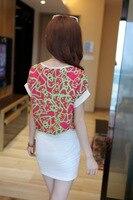 лето женщин с коротким рукавом печать шифон + тонкий хип юбка мода платье swinset самки деловой одежды бесплатная доставка