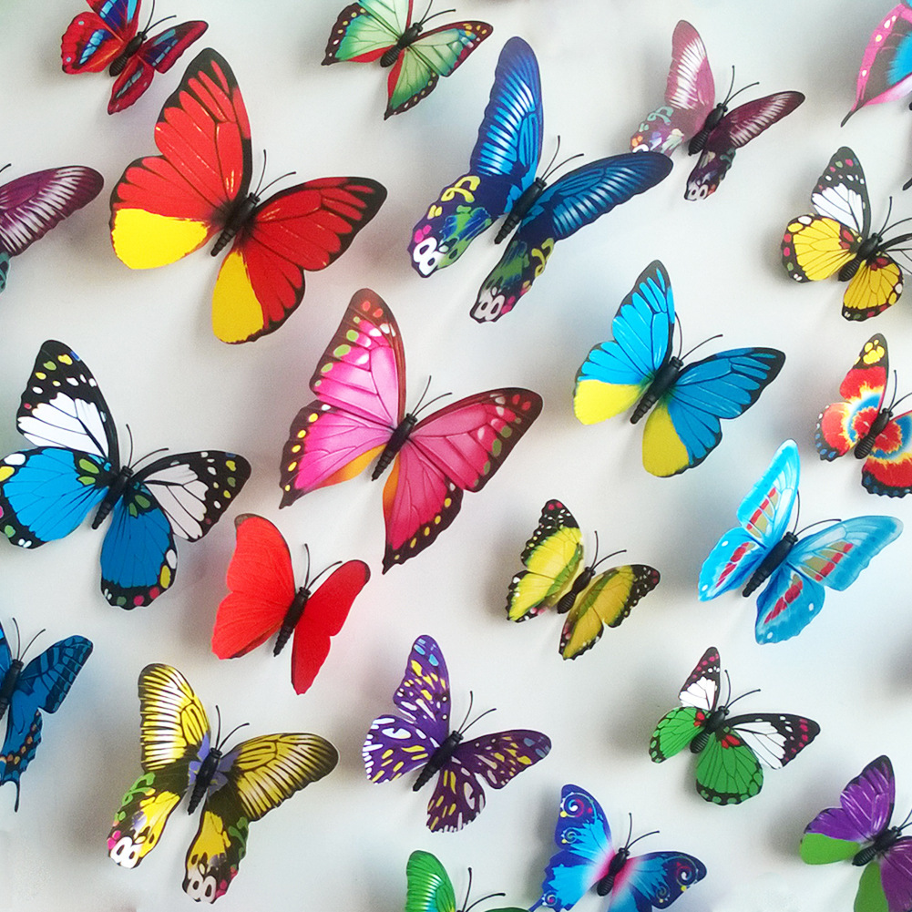 Pcsset D Wall Sticker PVC Butterfly Sticker For Home - Butterfly wall decals 3daliexpresscombuy d butterfly wall decor wall sticker