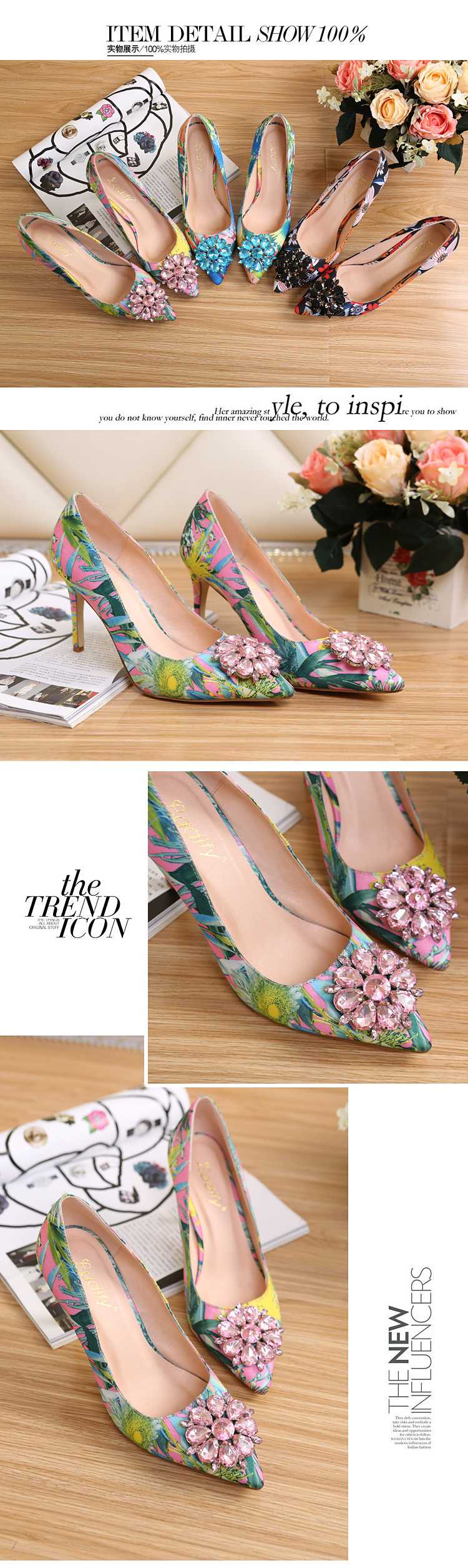 2017 Spring Fashion Pointed Women Pumps Rhinestone Thin High-heeled Women Shoes Black Pink High Heels Single Wedding Shoes XP35 3
