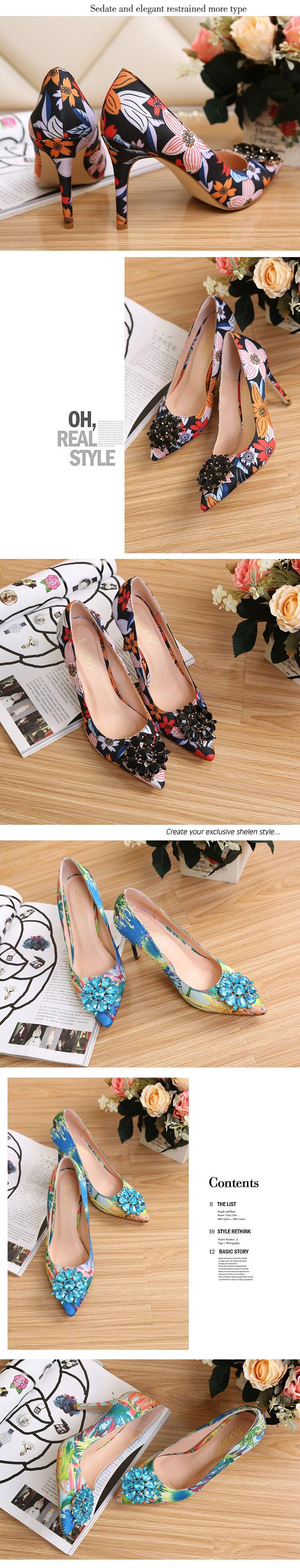 2017 Spring Fashion Pointed Women Pumps Rhinestone Thin High-heeled Women Shoes Black Pink High Heels Single Wedding Shoes XP35 4