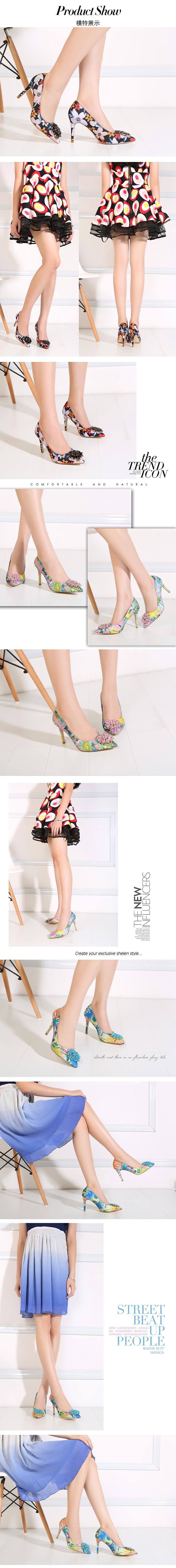2017 Spring Fashion Pointed Women Pumps Rhinestone Thin High-heeled Women Shoes Black Pink High Heels Single Wedding Shoes XP35 2