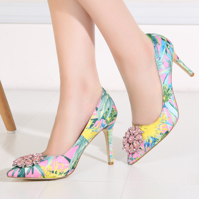 2017 Spring Fashion Pointed Women Pumps Rhinestone Thin High-heeled Women Shoes Black Pink High Heels Single Wedding Shoes XP35 6
