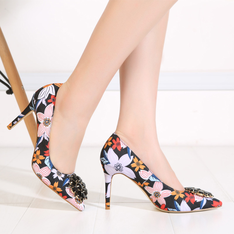 2017 Spring Fashion Pointed Women Pumps Rhinestone Thin High-heeled Women Shoes Black Pink High Heels Single Wedding Shoes XP35 7