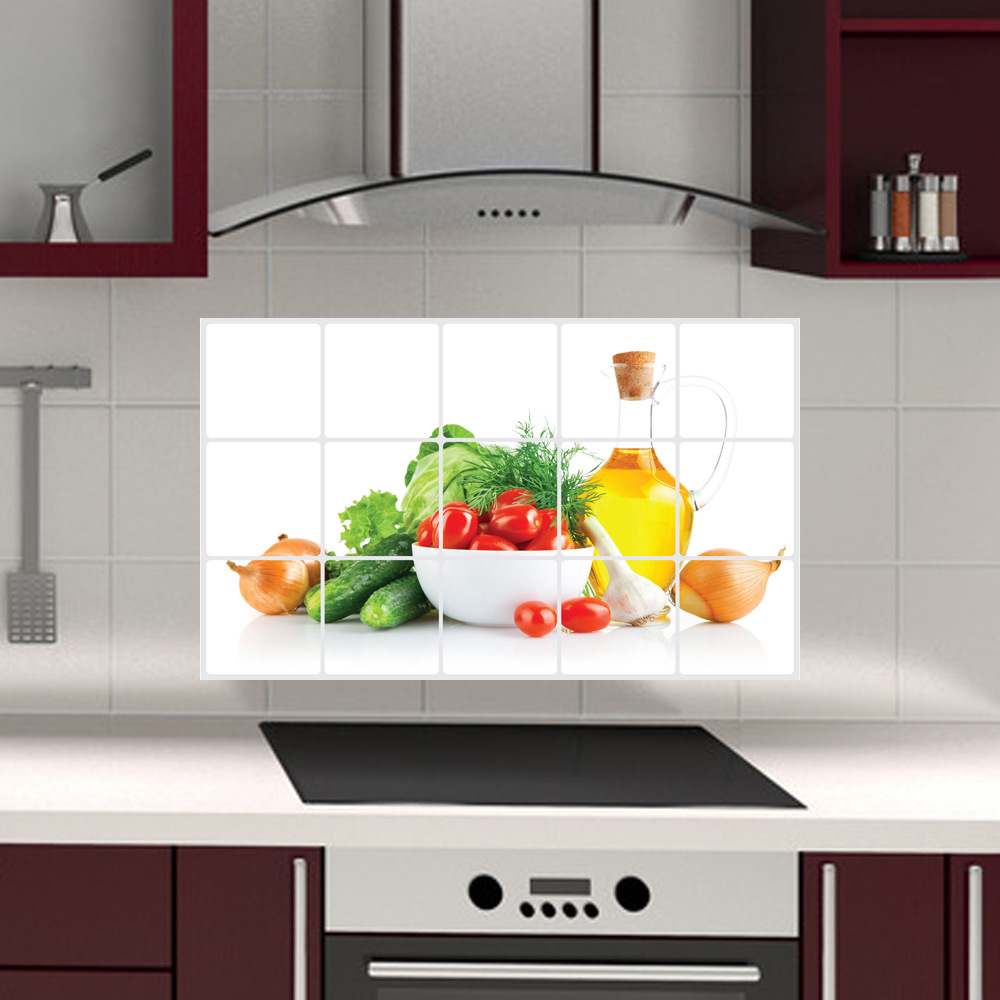 Vegetable Fruit Anti Oil Kitchen Wall Tile Stickers Removable Vegetable  Fruit Anti Oil Kitchen Wall Tile