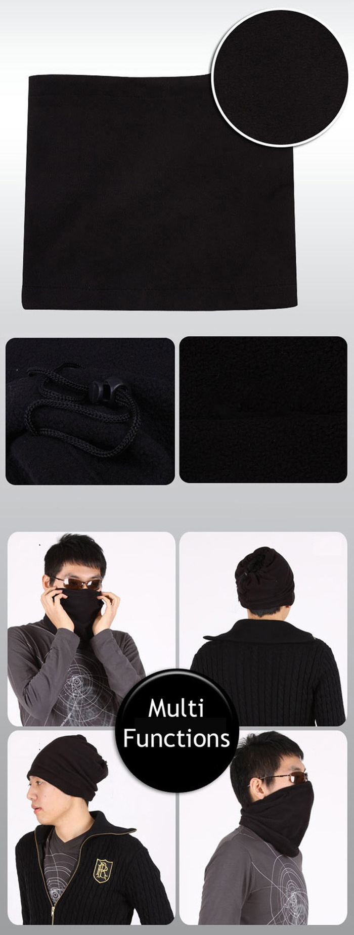 3 in 1 Multifunctional Scarf Unisex Men Women Fleece Thermal Snood Hat Neck Warmer Ski Scarf Beanie Balaclava 15