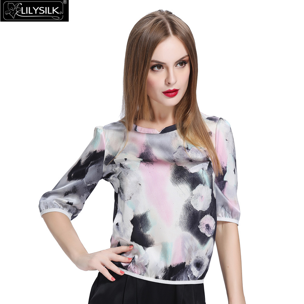 100% Silk Floral Blouse